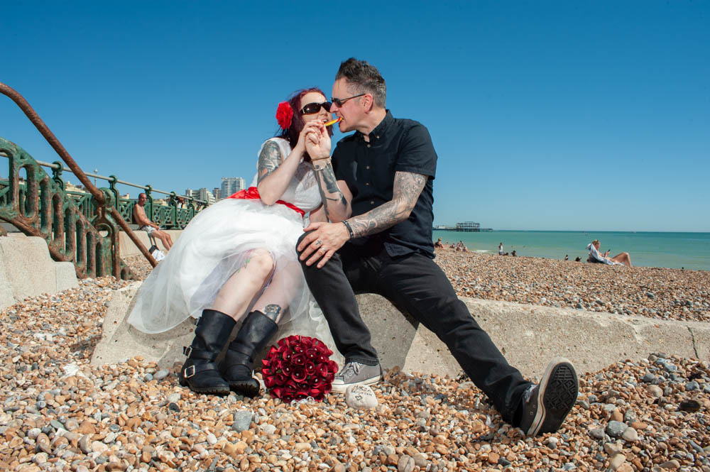 Paul and Lydia punk wedding in Brighton