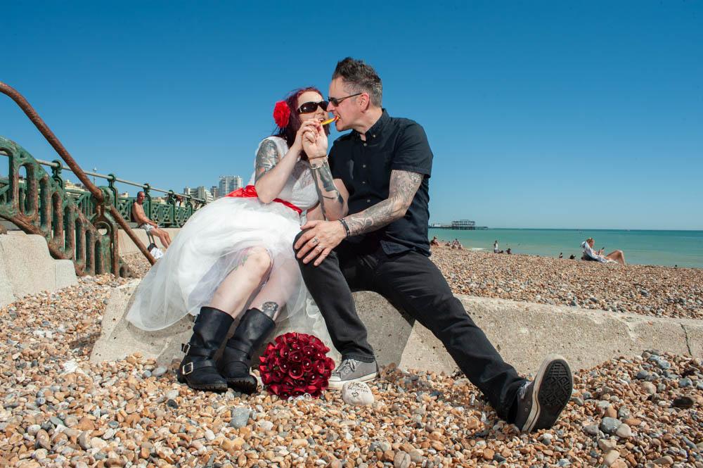 punk wedding on brach